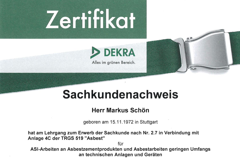 Zertifikat-Asbest